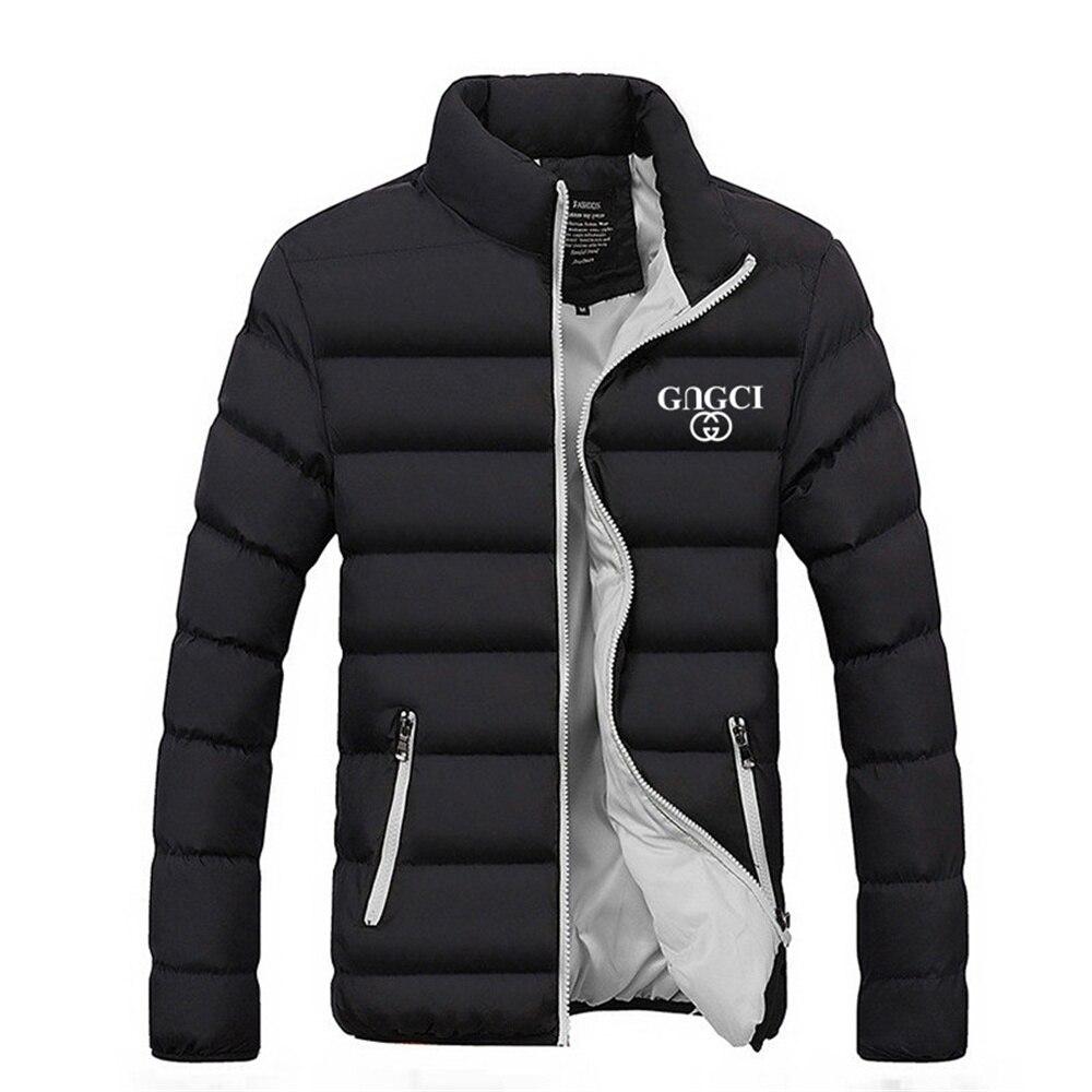 Зимняя мужская куртка, модная мужская парка с воротником-стойкой, пальто, Мужская однотонная Толстая куртка, пальто, Мужская Зимняя парка, п...