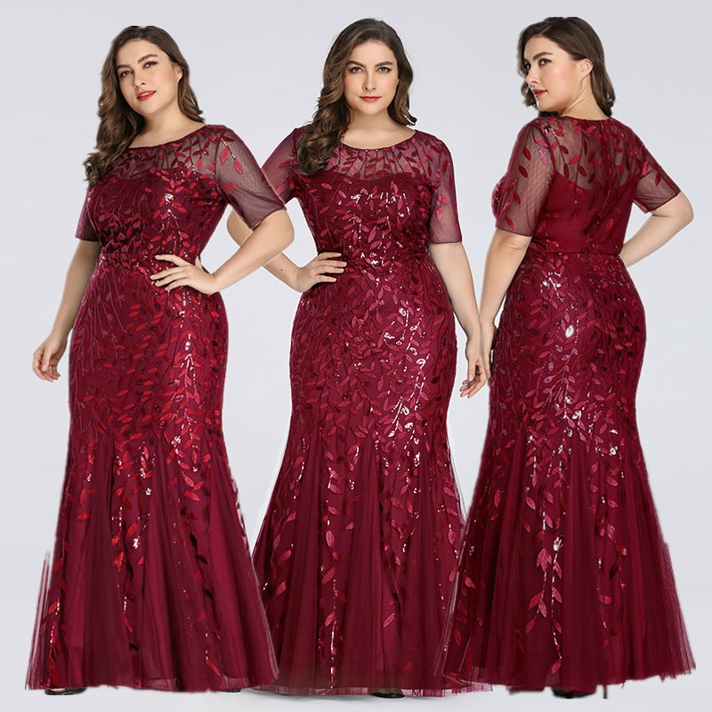 Evening Dresses Mermaid Sequined Lace Appliques Elegant Dress 2020 Party Gowns Plus Size