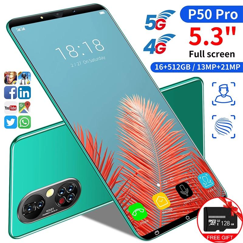 هاتف أندرويد P50pro بشاشة كاملة فائقة النحافة مقاس 5.3 بوصة هاتف محمول عالي السعة 12 + 512 جيجابايت طراز رقم 4950 مللي أمبير في الساعة