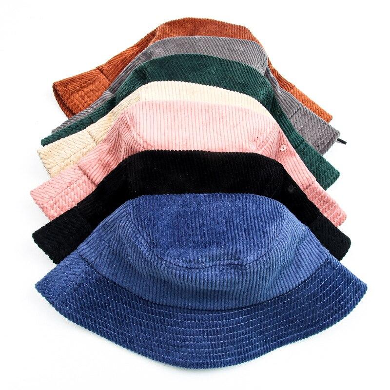Женские однотонные вельветовые Панамы ярких цветов, зимние хлопковые розовые модные шляпы от солнца, шапки, рыболовная черная Весенняя рыб...