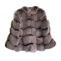 rf1928d luxury silver color real fur coat women natural fox fur coats full pelt long sleeve silver brown fox fur coat