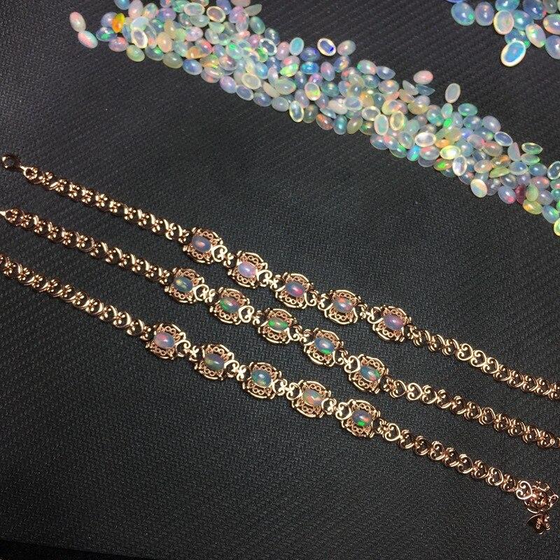 MeiBaPJ-سوار من الفضة الإسترليني عيار 925 مرصع بحجر الأوبال والأحجار الكريمة الملونة ، للنساء