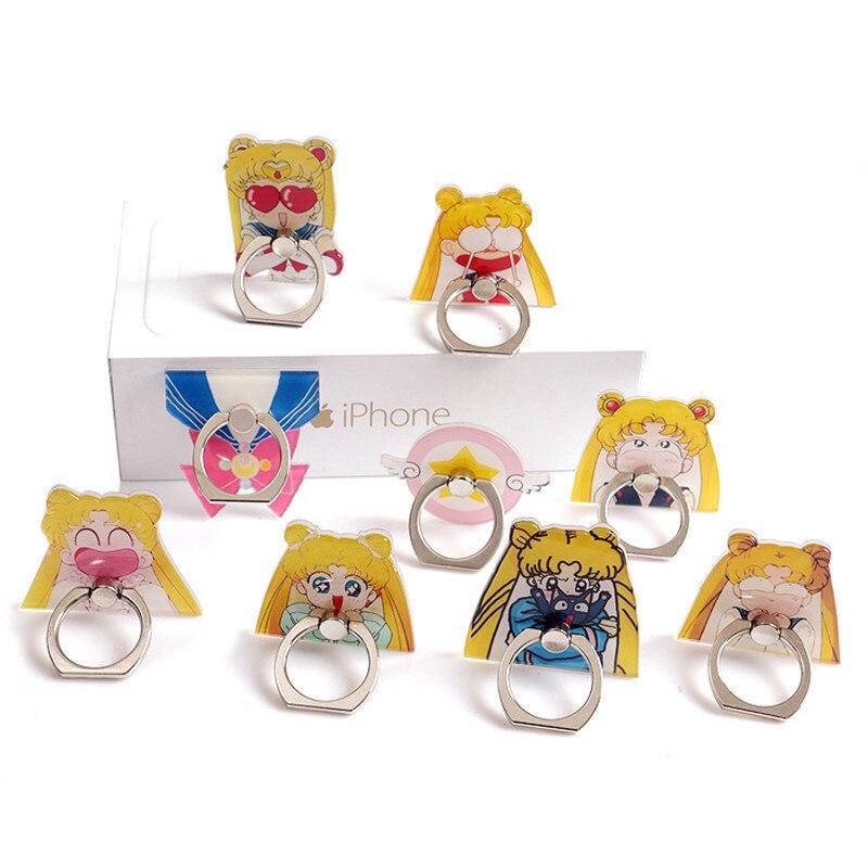 Soporte para teléfono móvil cartoonCartoon Sailor Moon Ring Buckle 360 grados giratorio lazy soporte de escritorio anillo para teléfono móvil