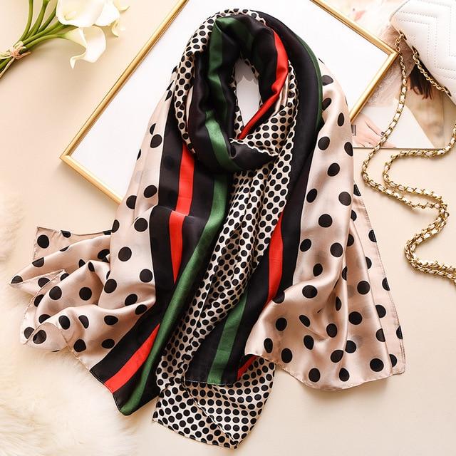 2021  New Summer Women Silk Scarf Beach Hijab Shawls and Wraps Designer Bandana