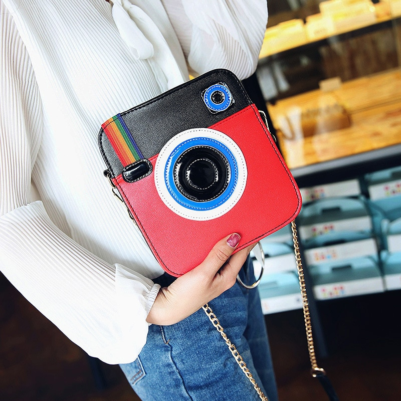 Fashion Camera Shape Rainbow Shoulder Bag for Girls Design Ladies Clutch HandBags High Quality PU Leather Women Messenger Bags
