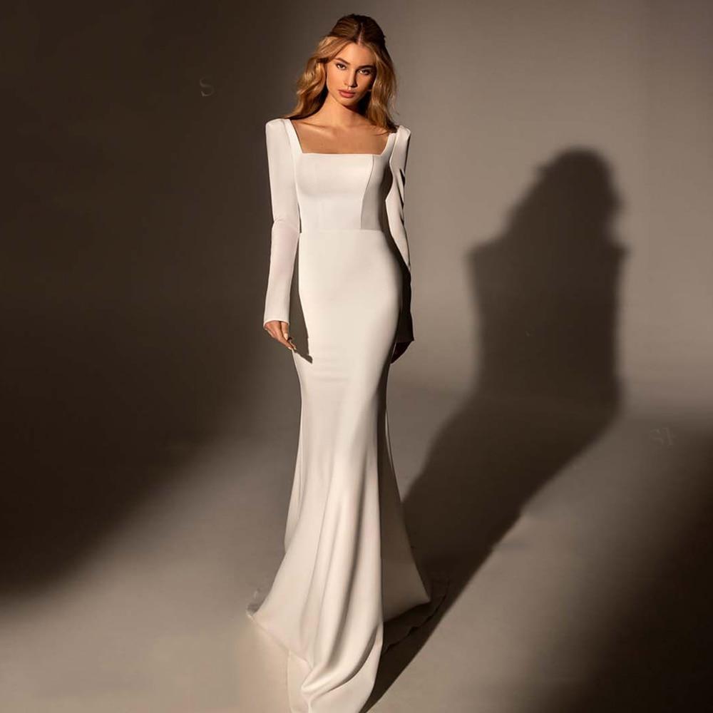 Review Simple White Satin Mermaid Wedding Dress Square Collar Long Sleeve Zipper Sweep Train 2021 Bride Gowns Vestido De Noiva