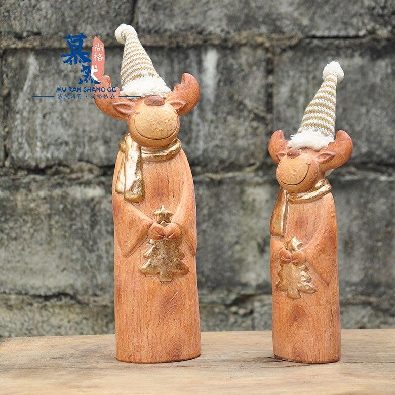 Conjunto de 2 piezas de artesanía de resina de imitación de madera de alce para Navidad, decoraciones para el jardín y la terraza, adornos para el salón