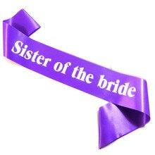 6 pièces soeur de la mariée ceinture blanc rose impression mariée douche sexy rose chaud couleur élégant violet ruban bachelorette poule fête
