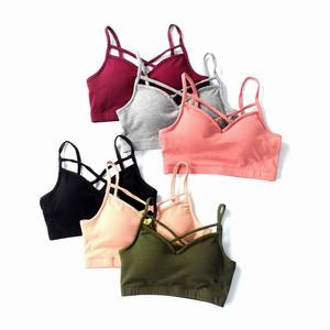 Women Crop Tops Camisole Camis Solid Colors Bralette Underwear Strappy Padded Bra Tops Cotton Tank Top