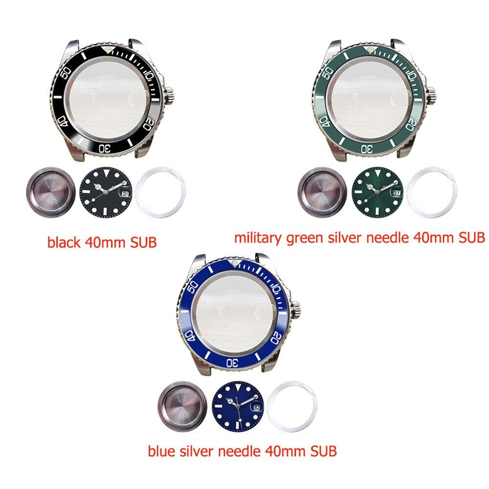 Caja de reloj de acero inoxidable de 40mm con cristal de zafiro para movimiento mecánico automático Mingzhu 2813/3804