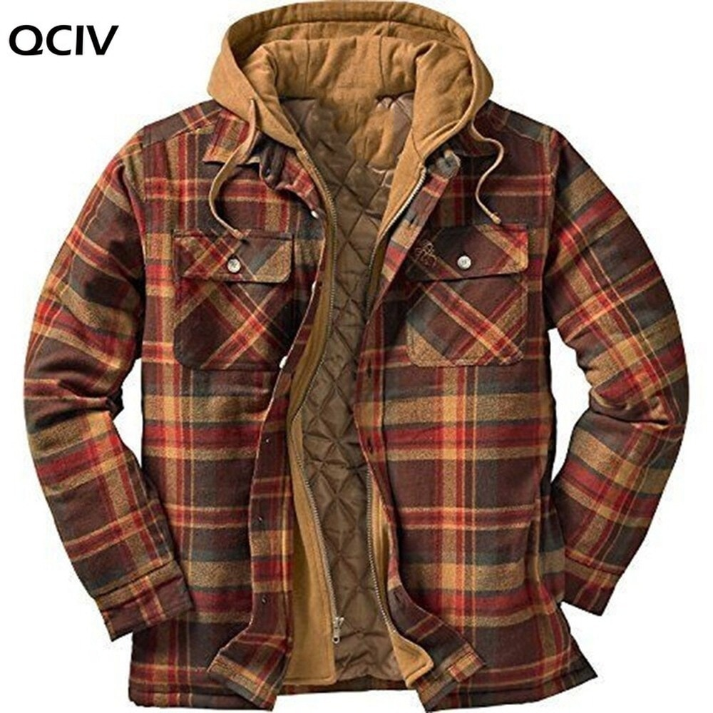Explosive Men's Clothing European American Autumn and Winter Models Thick Cotton Plaid Long-sleeved Loose Hooded Jacket