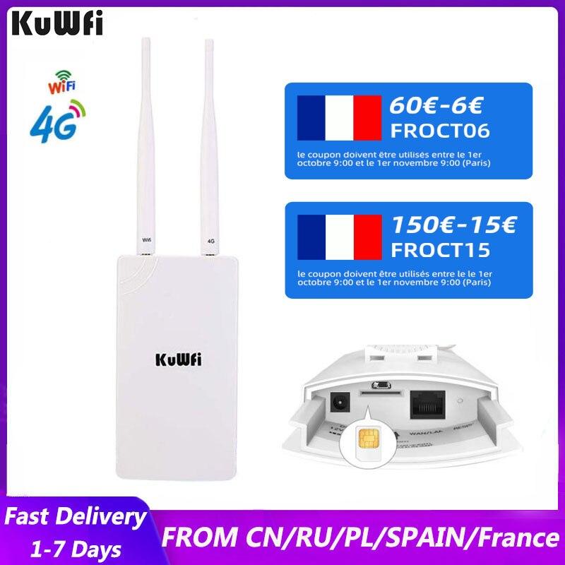 KuWFi 4G موزع إنترنت واي فاي 150Mbps في الهواء الطلق CAT4 LTE مع بطاقة SIM الخارجية 2 هوائيات RJ45 LAN ميناء واي فاي راوتر للكاميرا IP