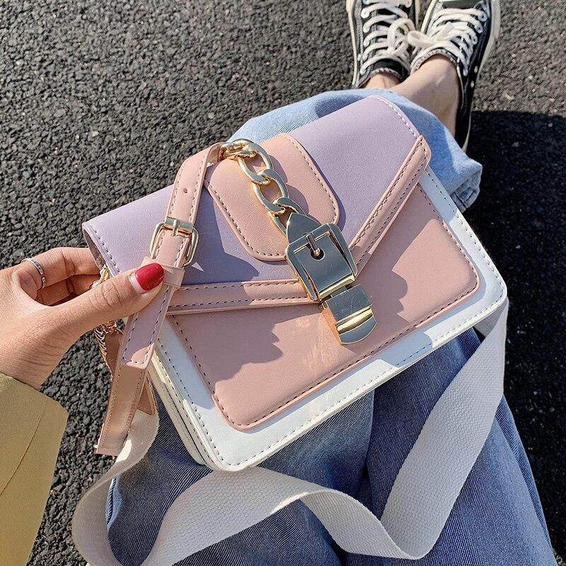 Bolso bandolera de piel sintética con contraste de color para mujer, Bolso pequeño de viaje de verano 2020, bolso de hombro, bolso cruzado para mujer