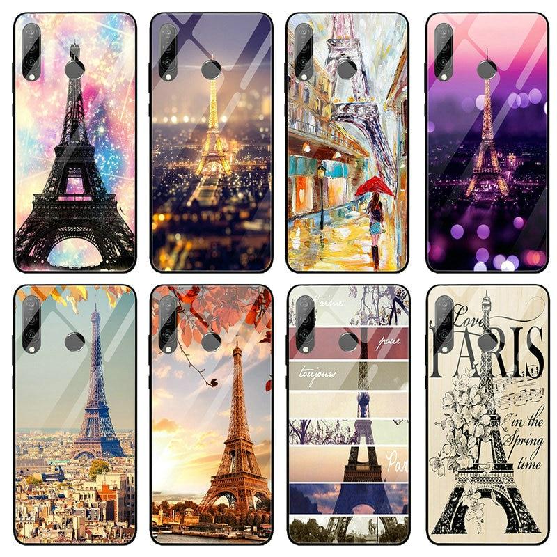 Tempered Glass Case For Huawei Y6 Y9 Honor 6X 8 8A 9 10 P20 P30 Plus Lite Pro 2019 Romantic Love Paris Eiffel Tower