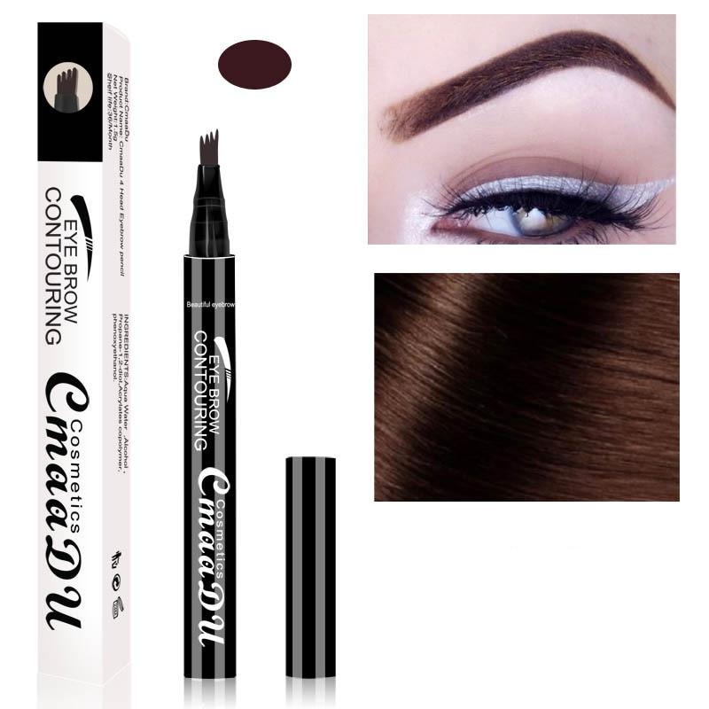 Lápiz de cejas de punta de horquilla de 4 a prueba de agua lápiz de tatuaje de cejas 3 colores de larga duración maquillaje de ojos Natural 3D cejas cosmético en crema TSLM3