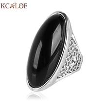KCALOE Black Big Stone Ring Aneis Feminino Vintage Retro Silver Color Long Anniversary Engagement Rings Fashion Women Jewelry