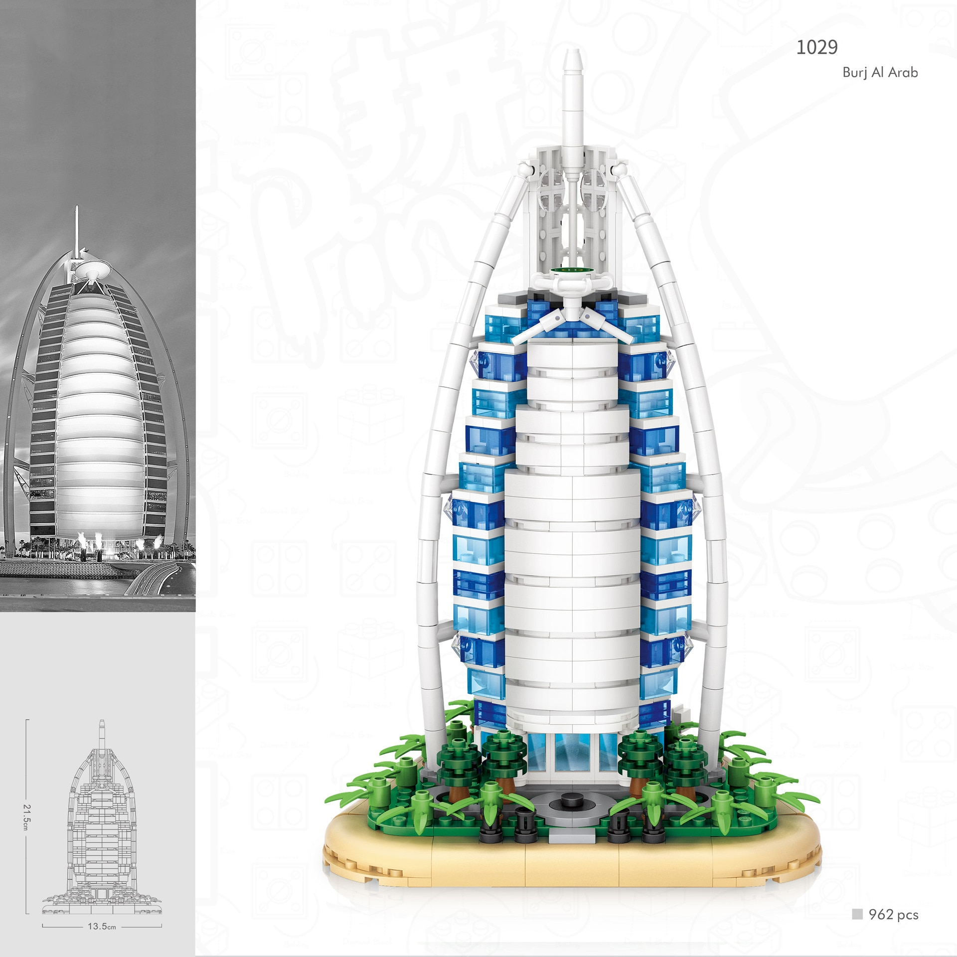 Creador de los Emiratos Árabes Unidos Dubai Burj Al árabe Loz mini bloque de construcción de diamante arquitectura famosa del mundo bloques de modelismo juguete