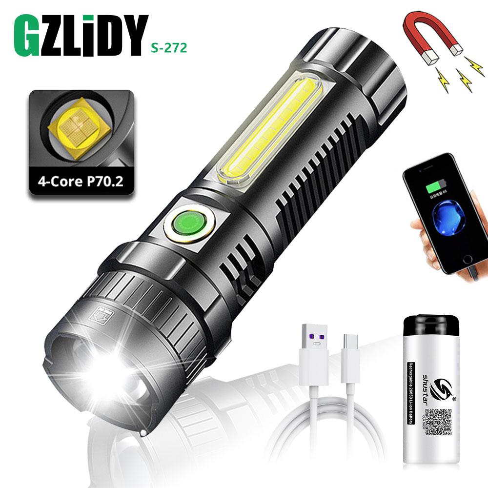 قوية LED XHP70.2 مصباح يدوي USB مصباح COB قابل للشحن الشعلة فانوس التكبير مقاوم للماء مع عرض الطاقة السوبر مشرق ضوء 26650