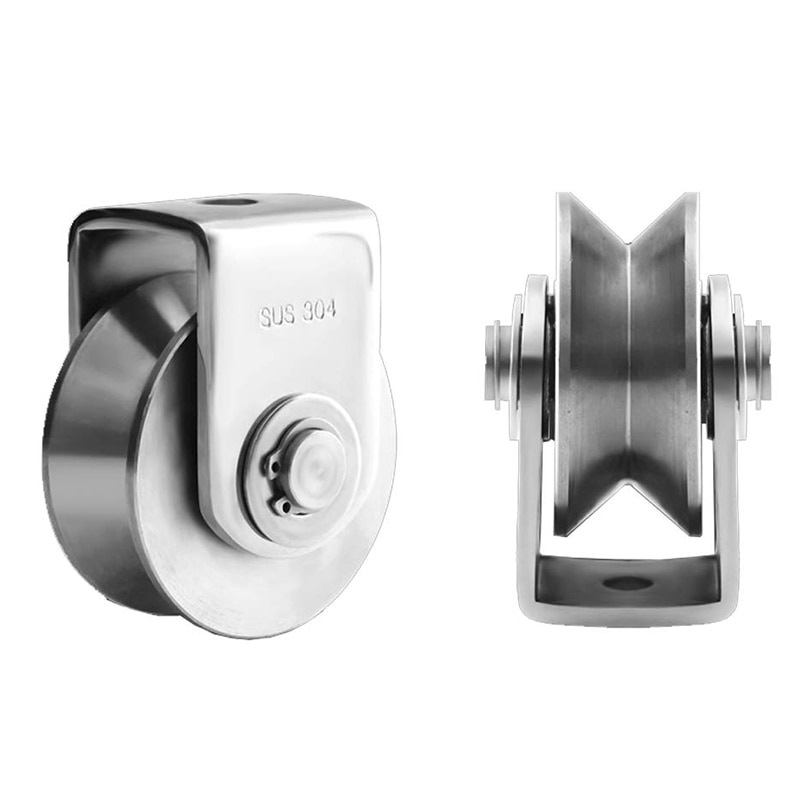 2 Inch V Type Pulley Roller 304 Stainless Steel Sliding Gate Roller Wheel Bearing for Material Handling and Moving enlarge