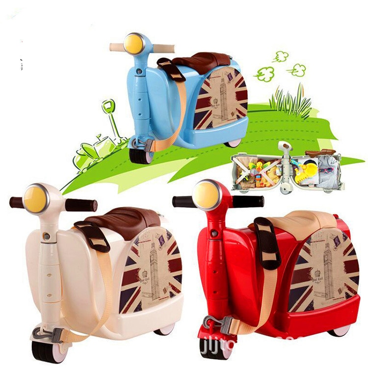 Children's Motorcycle for Riding on Kids Luggage Two-in-one Suitcase Ride on and Boys and Girls Baby Trolley Toys for Kids Gifts