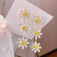 mengjiqiao korean elegant yellow crystal flower petal tassel drop earrings for women students fashion party pendientes jewelry