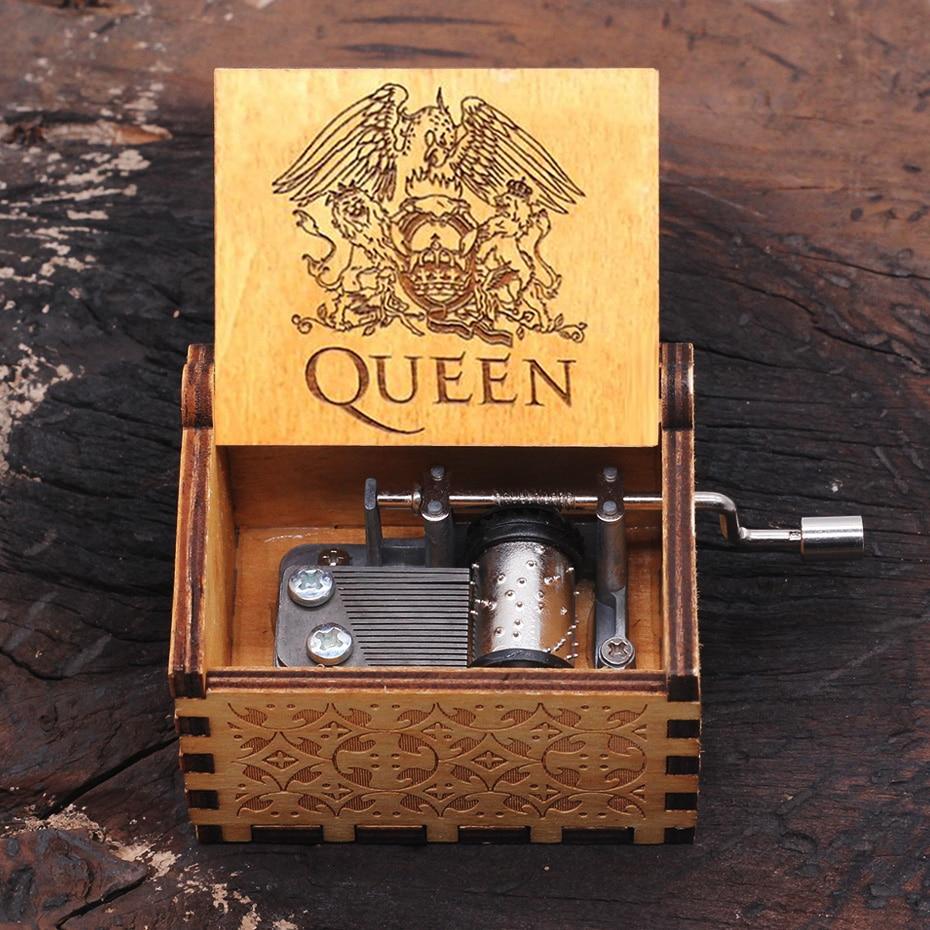 Hot Wooden Hand Crank Queen Music Box Bohemian Rhapsody Theme Game Of Throne Digimon Beauty Beast Christmas Gift