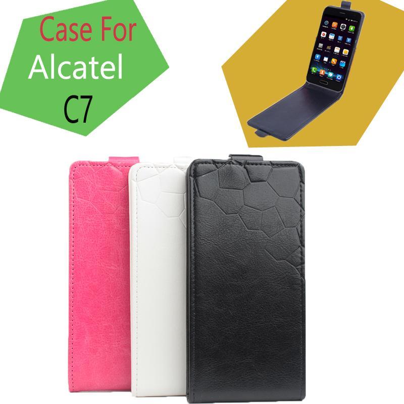Funda de cuero para Alcatel One Touch Pop C7 funda de teléfono móvil en la siguiente funda abatible para Alcatel C7 venta caliente precio de fábrica