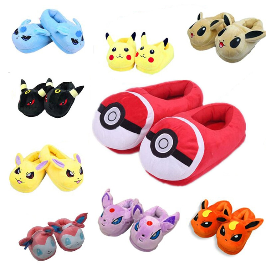 2020 unisex dos desenhos animados chinelos de algodão para adulto anime pokemon bonito pikachu eevee casa pijamas sapatos inverno quente pelúcia indoor sapatos