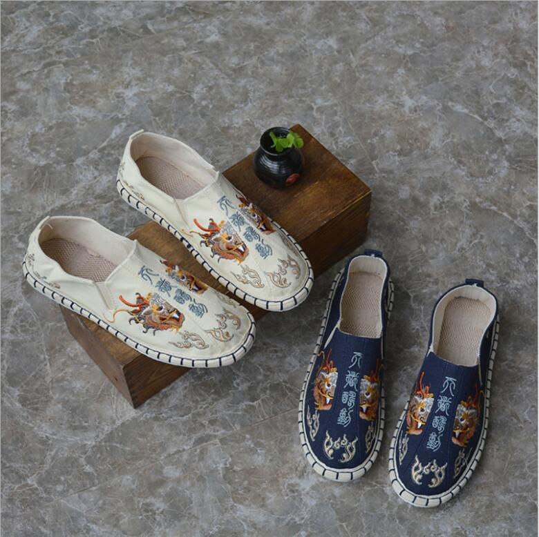 Chinese characters colorful Fabric shoes dragon head embroidery hemp shoes antiskid men Kung Fu meditation Linen shoes недорого
