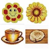 diy flower coffee cushion carpet embroidery section section embroidery handmade car cushion latch hook rug kits g