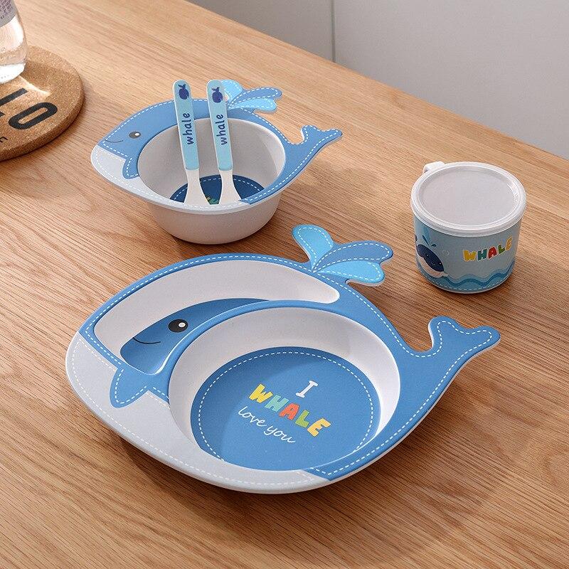 5 قطعة/الوحدة الكرتون صديقة للبيئة الاطفال المائدة مجموعة الأطفال لوحة عاء الشرب كوب مع ملعقة شوكة الهدايا مربع للأم الطفل متجر