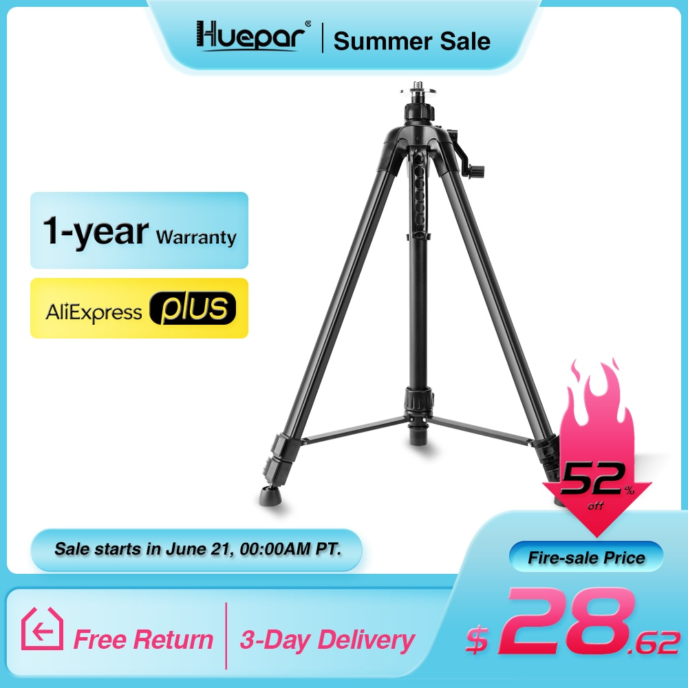 brand new 1 65m aluminum tripod 5m 5 section dumpy laser level staff for rotary laser level Huepar 1.6M Laser Level Tripod Aluminum Flat Head Adjustable Height Tripod Stand with Handle Bubble for Self leveling Level