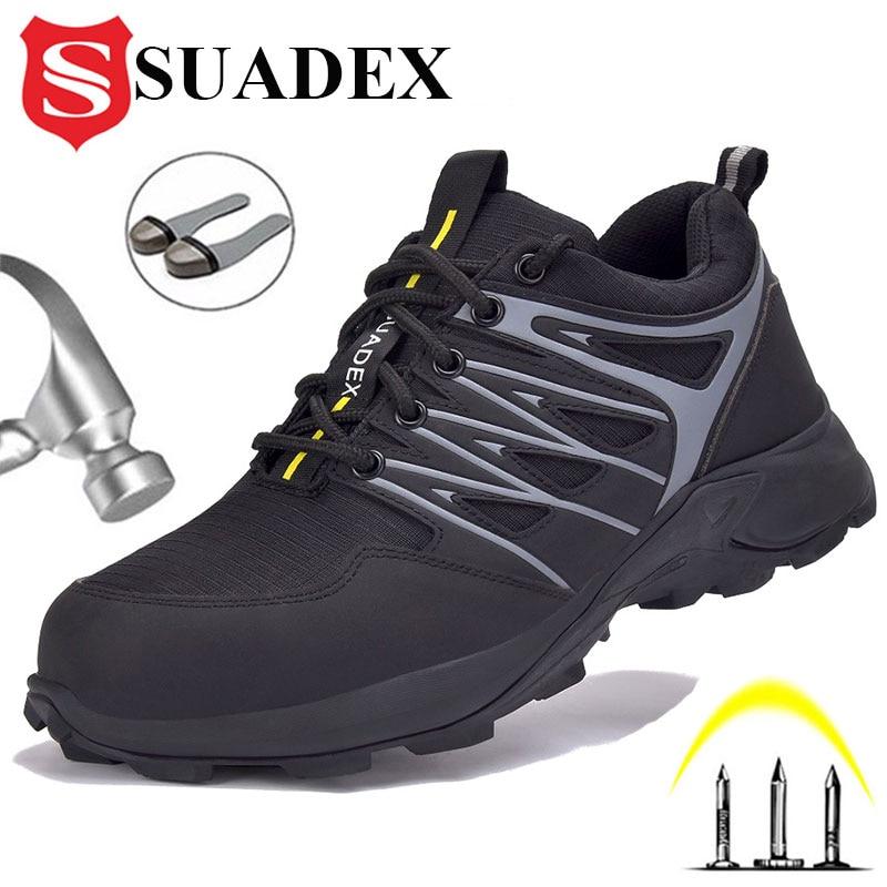 SUADEX 2021 جديد الرجال أحذية عمل أحذية أمان التمهيد غطاء صلب لأصبع القدم مكافحة تحطيم مكافحة ثقب في الهواء الطلق رياضي واقية أحذية رياضية