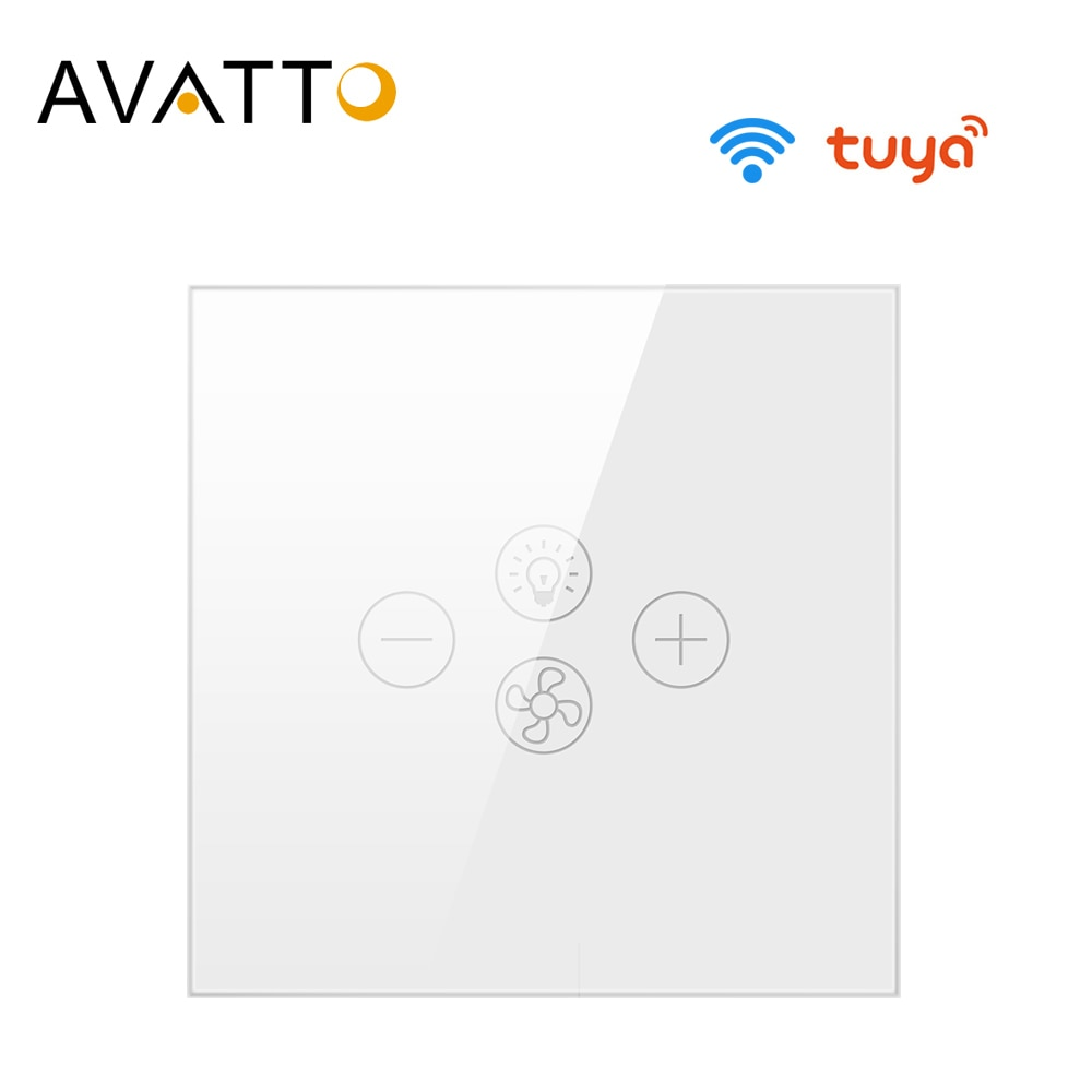AVATTO Tuya interruptor de luz de ventilador Wifi, interruptor de lámpara de ventilador de techo inteligente con varias velocidades de voz controlada por Alexa, Google Home