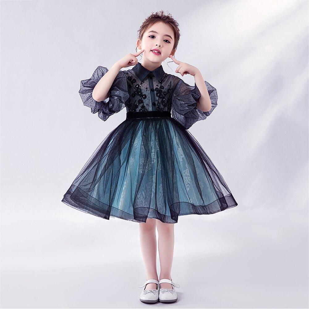 Vestido bonito de tul de hada con flores para niñas, vestido elegante para actuación en Piano, vestido nuevo de verano para niñas, vestidos de princesa, vestido de fiesta de cumpleaños