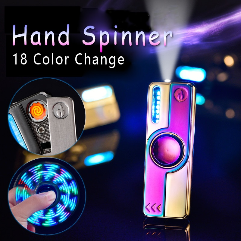 New Luminous Metal Fidget Hand Spinner Top Spinners Stress USB Charging Lighters Fingertip Gyro Cigarette Accessorie Men Gift E