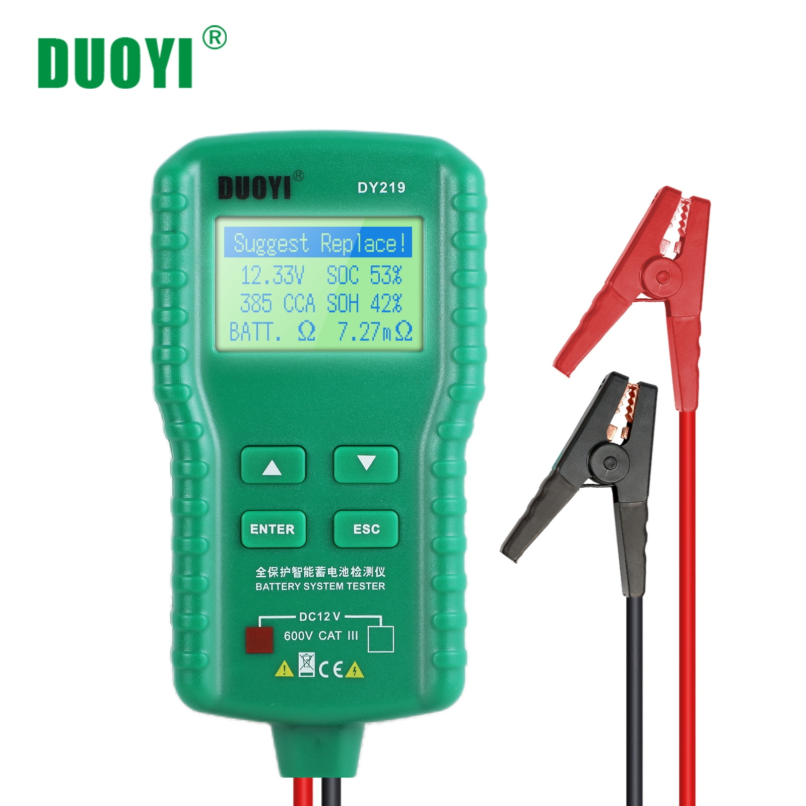 all sun high performance digital automotive 12v cca battery tester for cold temperature battery load charging voltage starter DUOYI DY219 12V Car Battery Tester Digital Automotive AH CCA Voltage Battery Load Analyzer Multifunction Diagnostic Tool Mini