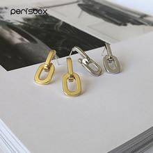 PerisBox Solid Gold Stud Earrings Double Link Geometric Earrings Studs for Women 2019 Thick Chain Minimalist Earrings Designer