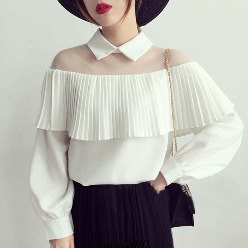 Moda feminina rendas manga longa pura malha blusa sexy borla vintage preto branco manga baggy blusa o-pescoço camisas S-XL