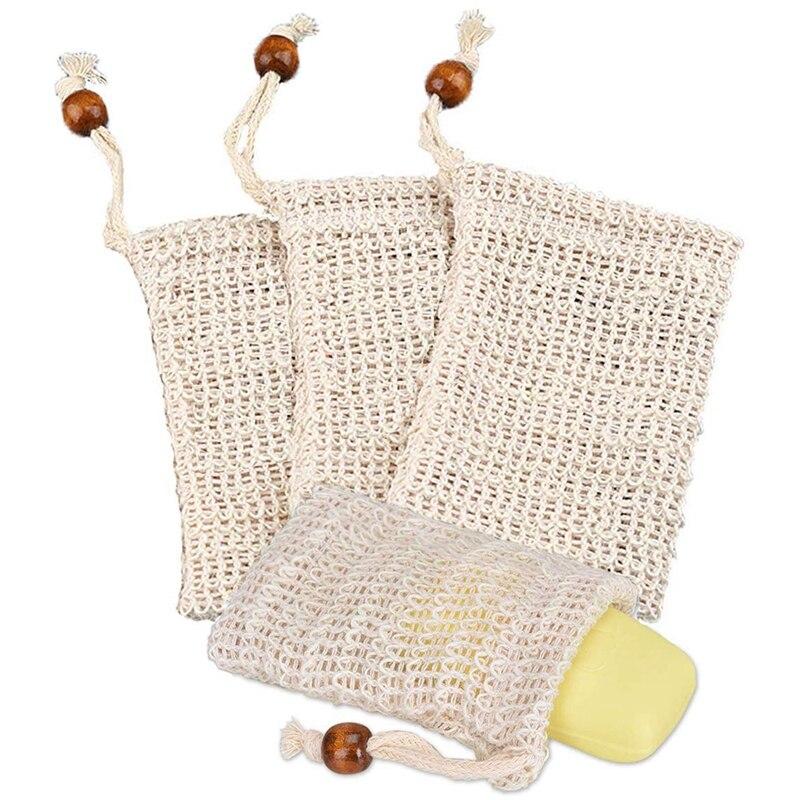 4X bolsa de jabón de ramio bolsa de jabón orgánico espuma y jabón seco