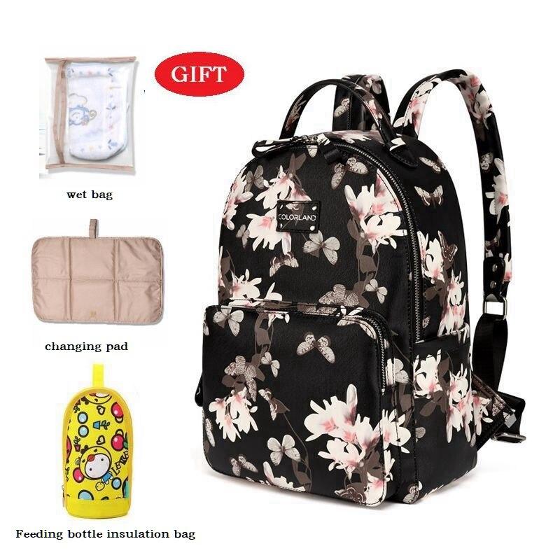 Сумка для подгузников с цветами из искусственной кожи, органайзер для мам + влажная сумка + сменный коврик