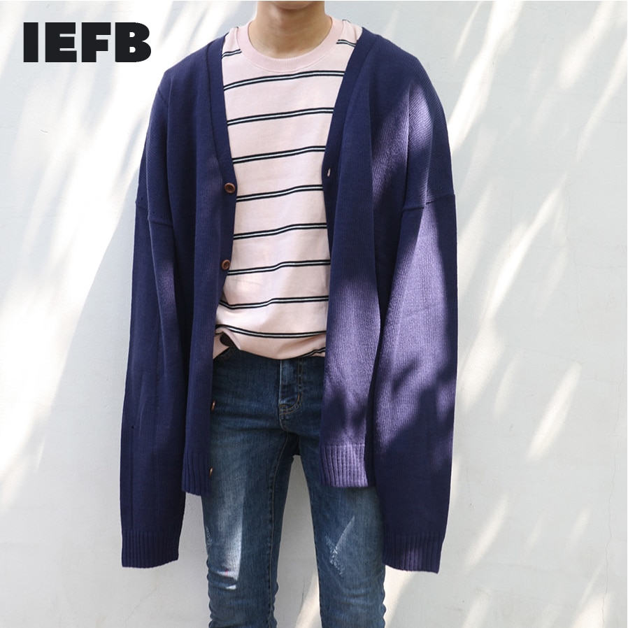 IEFB الرجال سترة مشغولة من الصوف سترة الكورية نمط أزياء فضفاضة سميكة بلون المألوف الذكور معطف Vintage 9Y3268
