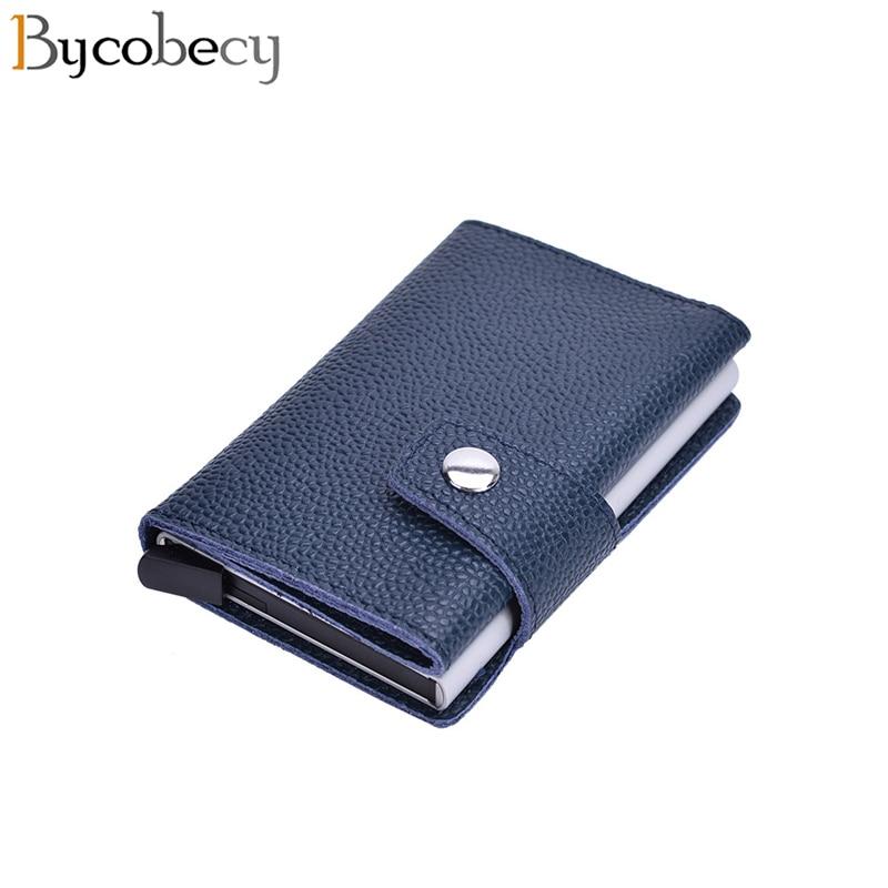 Bycobecy  Card Holder Vintage Purse Genuine Leather Rfid Aluminium Credit Business Card Holder 2019 Unisex  Credit Card Holder