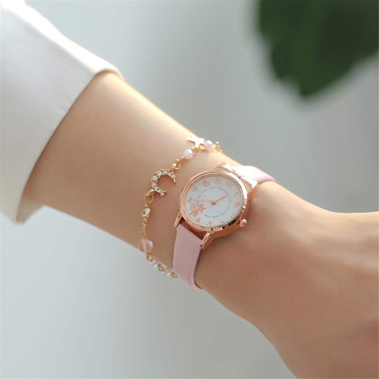 Korean Style Kol Saati Fashion Casual Cat Ladies Bracelet Quartz Watch Set Bracelet Femme Watches Women Fashion Watch 2020