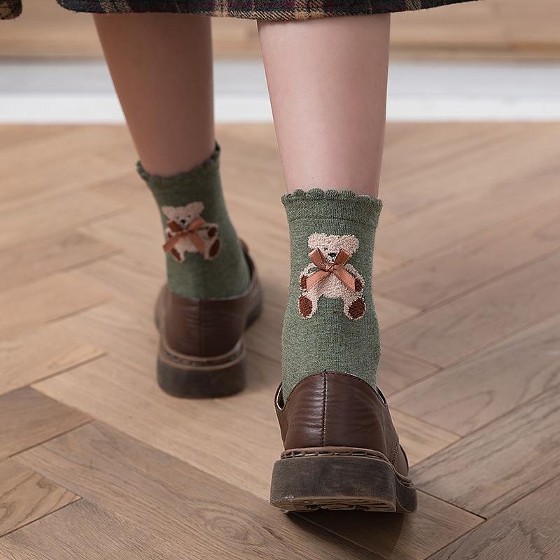 Пара милых женских Модных носков из чистого красивые хлопковые носки хлопка с бантом и Носки с рисунком медведя