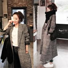 Women's autumn and winter new plaid woolen coat female long section loose plus cotton thickening ove