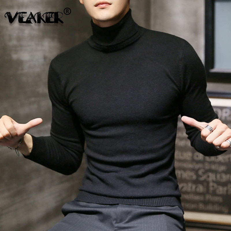 2019 Winter New Men's Turtleneck Sweaters Black Sexy Brand Knitted Pullovers Men Solid Color Casual