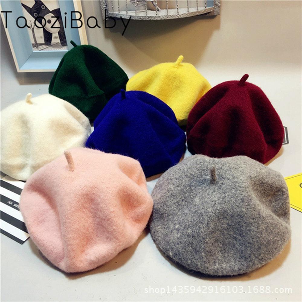 Boinas para bebé, otoño e invierno, sombreros para bebé, sombrero de artista británico, gorro de lana pura, gorro de marea coreano, sombrero de bebé para fotografía