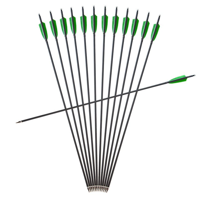6/12/24 pçs lotes de carbono misturado seta coluna 500 diâmetro 7.8mm com substituível arrowhead para recurvo arco tiro com arco caça
