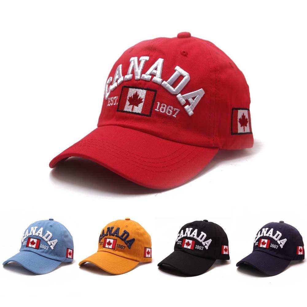 Gorra de béisbol de Bordado de letras canadiense marca hatlantider, gorra de algodón con parte posterior curva para papá, gorra deportiva de ocio para hombres y mujeres